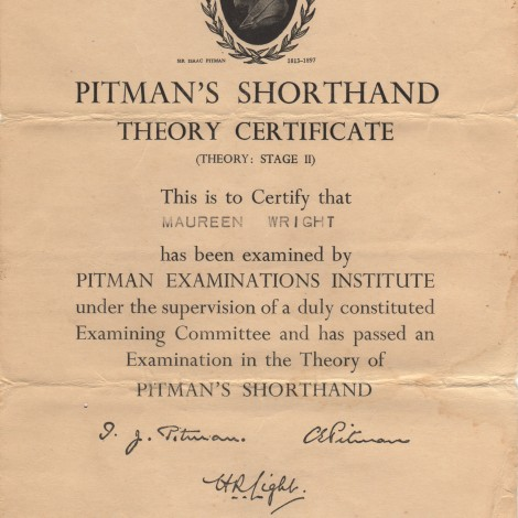 Pitman's Shorthand Theory Certificate, December 1954 (1 of 1)