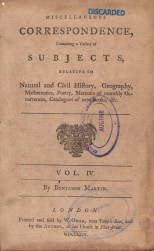 Miscellaneous Correspondence (Title and Frontispiece), Miscellaneous Correspondence, 1764